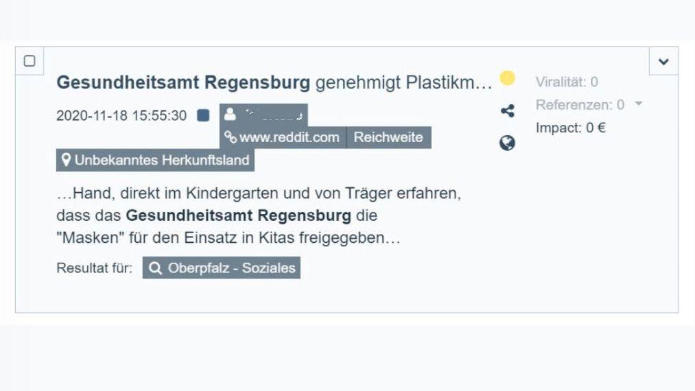 Eine Frau beklagt auf Reddit die Freigabe von Plastikmasken für Kitas