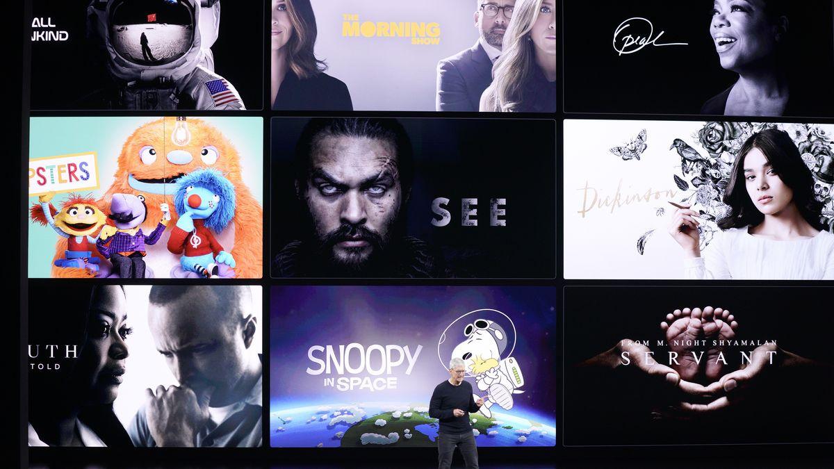 Apple-Chef Tim Cook präsentiert das Programm von Apples neuem Streaming Dienst Apple TV Plus.