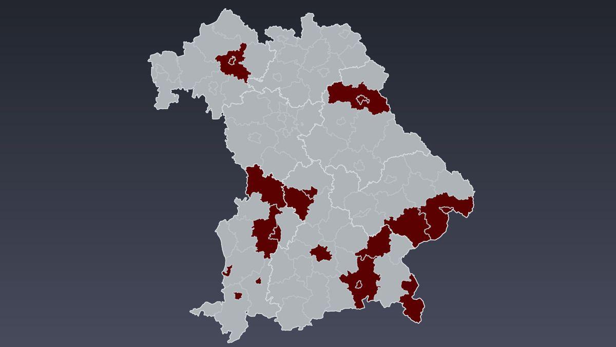 """Inzwischen 20 Städte und Landkreise in Bayern """"dunkelrot"""""""