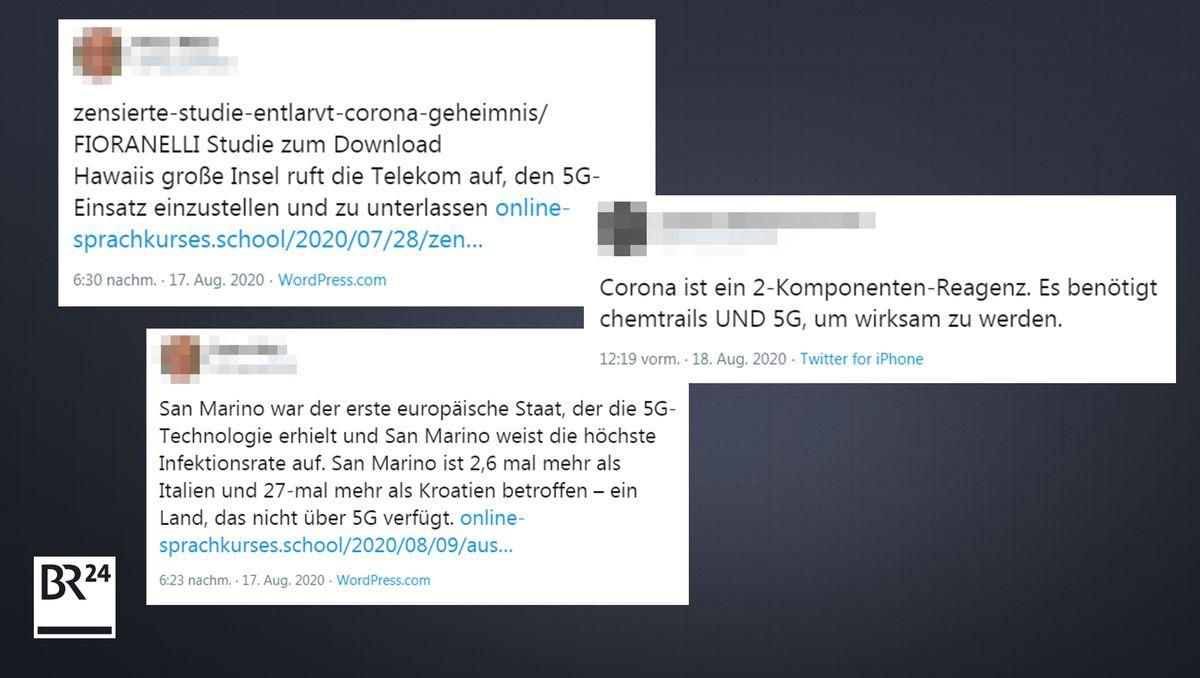 Beispiele für Tweets, die einen Zusammenhang zwischen Corona und 5G herstellen.