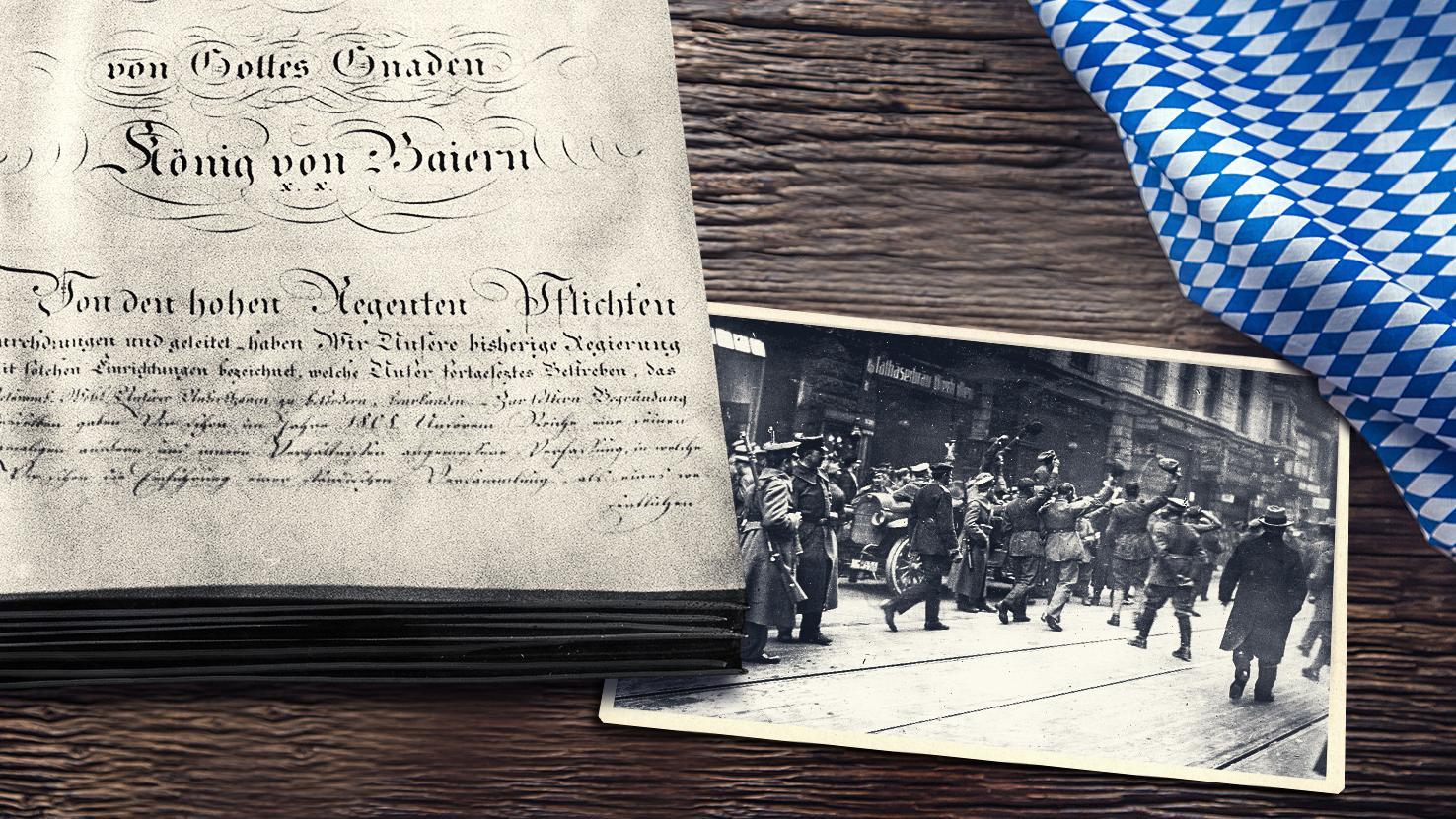 Montage: Verfassung von 1818, Münchner Revolutionäre von 1918