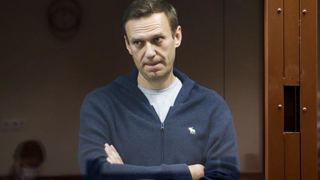 Alexej Nawalny steht hinter einer Glasscheibe während einer Anhörung vor dem Bezirksgericht Babuskinsky.