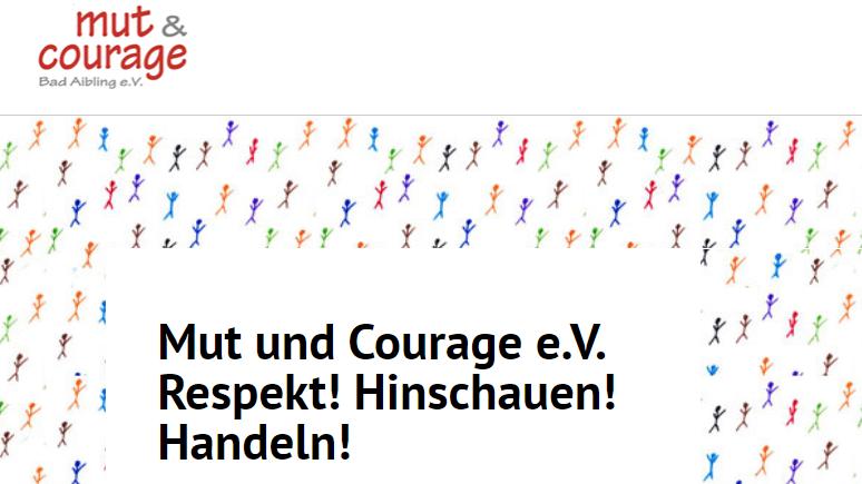 """Logo und Homepage-Foto von """"Mut und Courage Bad Aibling e.V."""""""