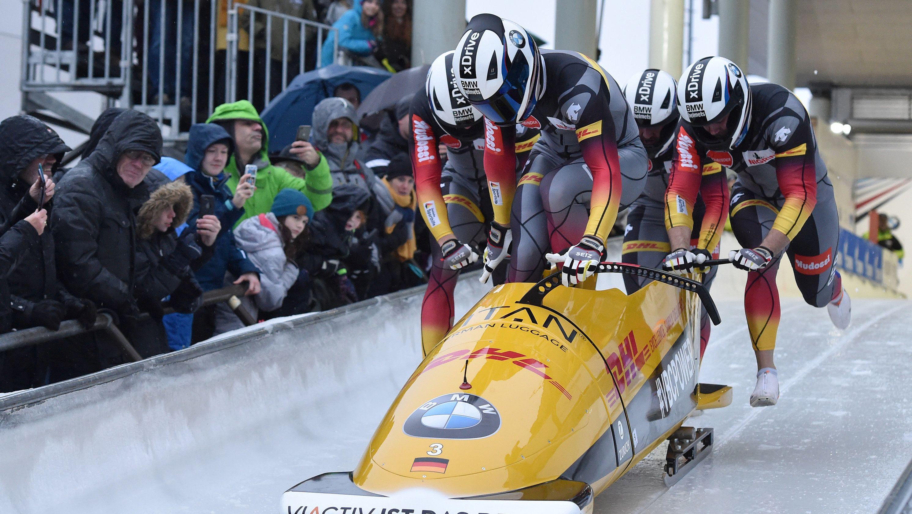 Viererbob Team Deutschland beim Weltcup in Winterberg