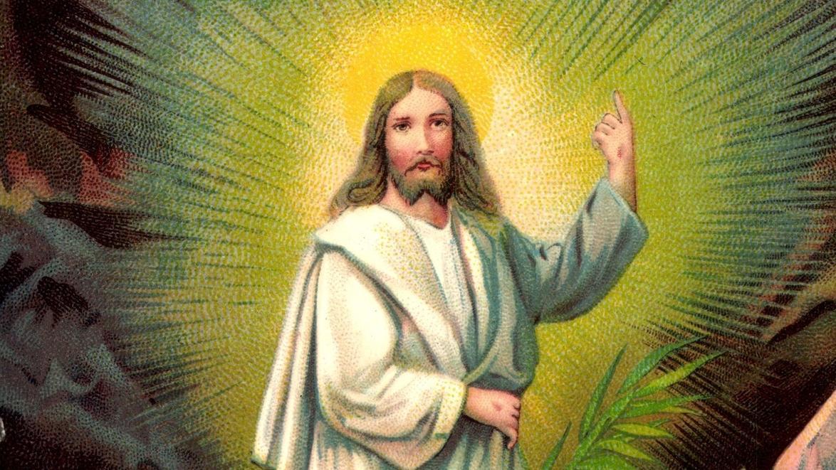 Alte Osterkarte mit Jesus