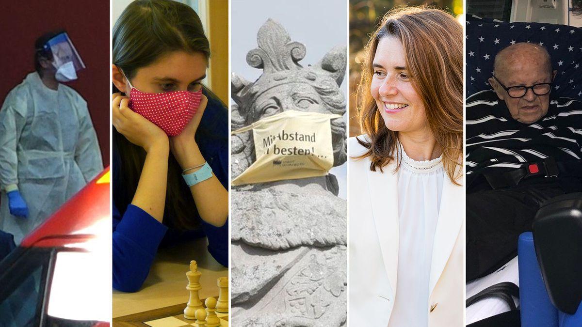 Bildmontage: Corona-Helfer / Schachspielerin Jana Schneider / Brücken-Heiliger mit Maske / Landrätin Sabine Sitter / 100-Jähriger Hermann Günther