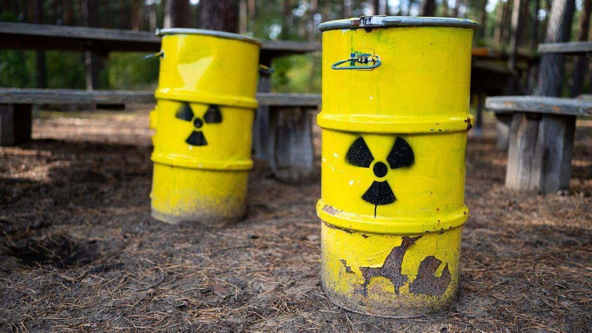 Symbolbild: Fässer mit Atommüll im Wald