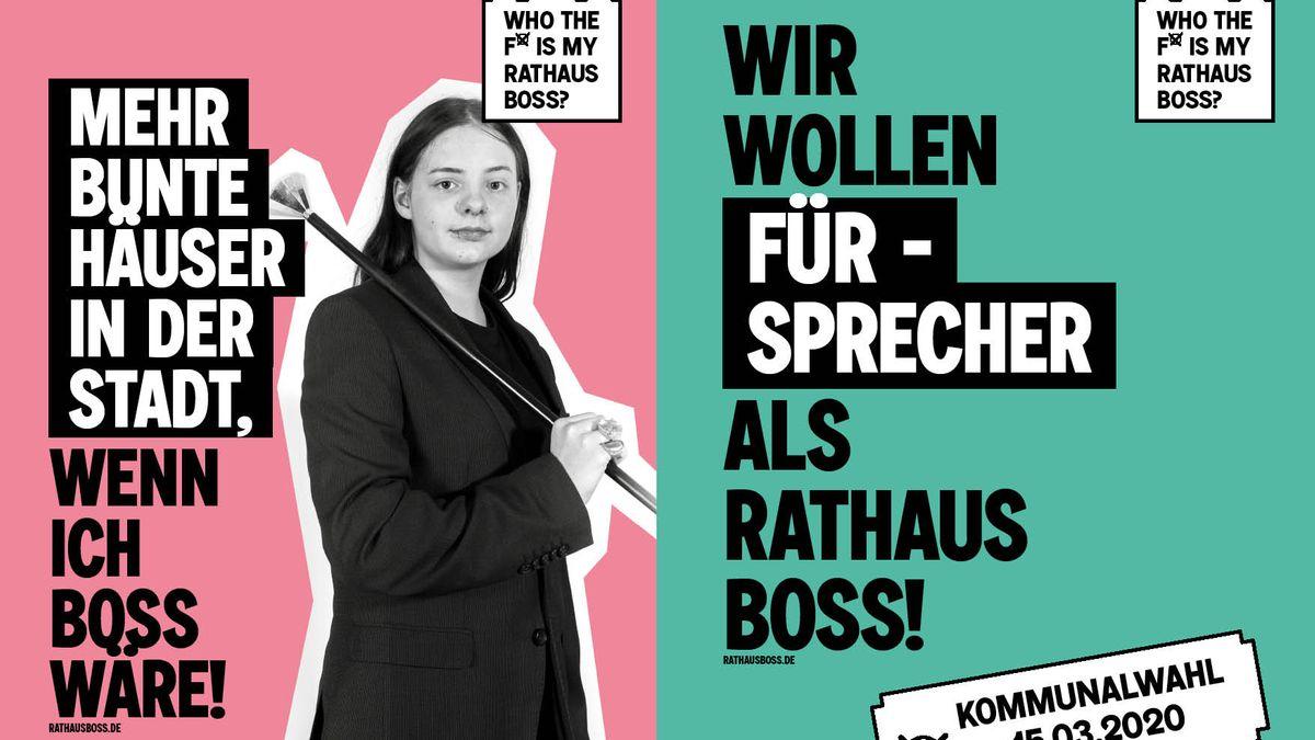 Plakat mit junger Frau und Slogans einer Kampagne zur Kommunalwahl