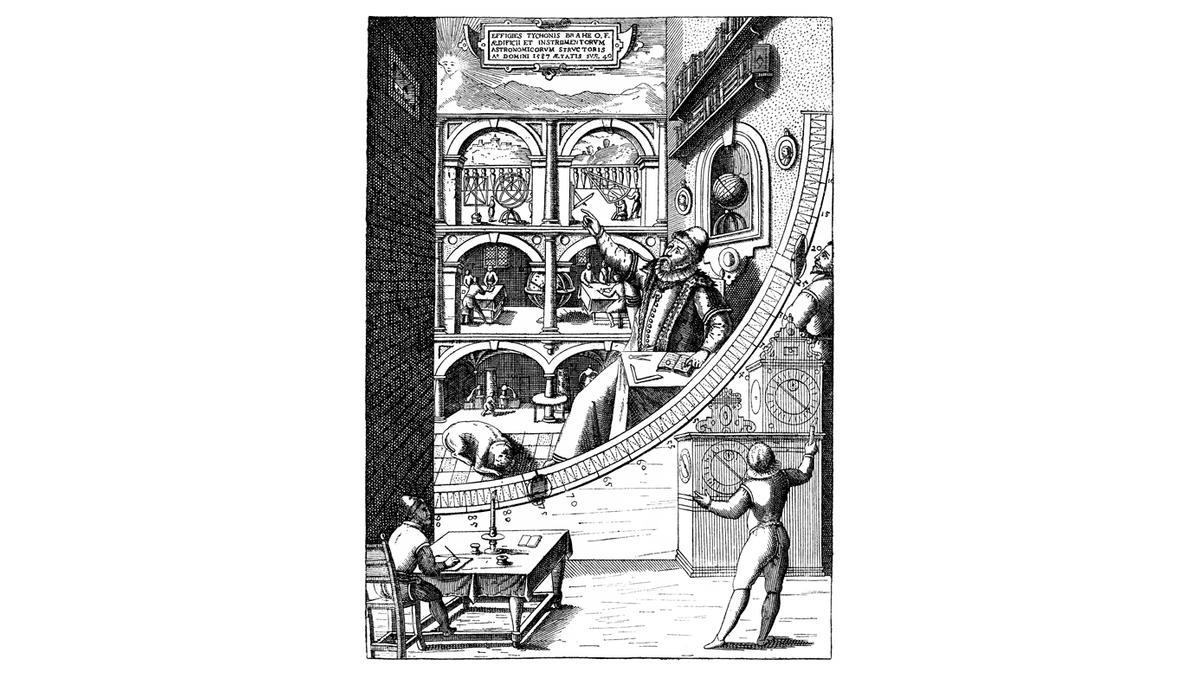 Tycho Brahe in seiner Sternwarte Uraniborg
