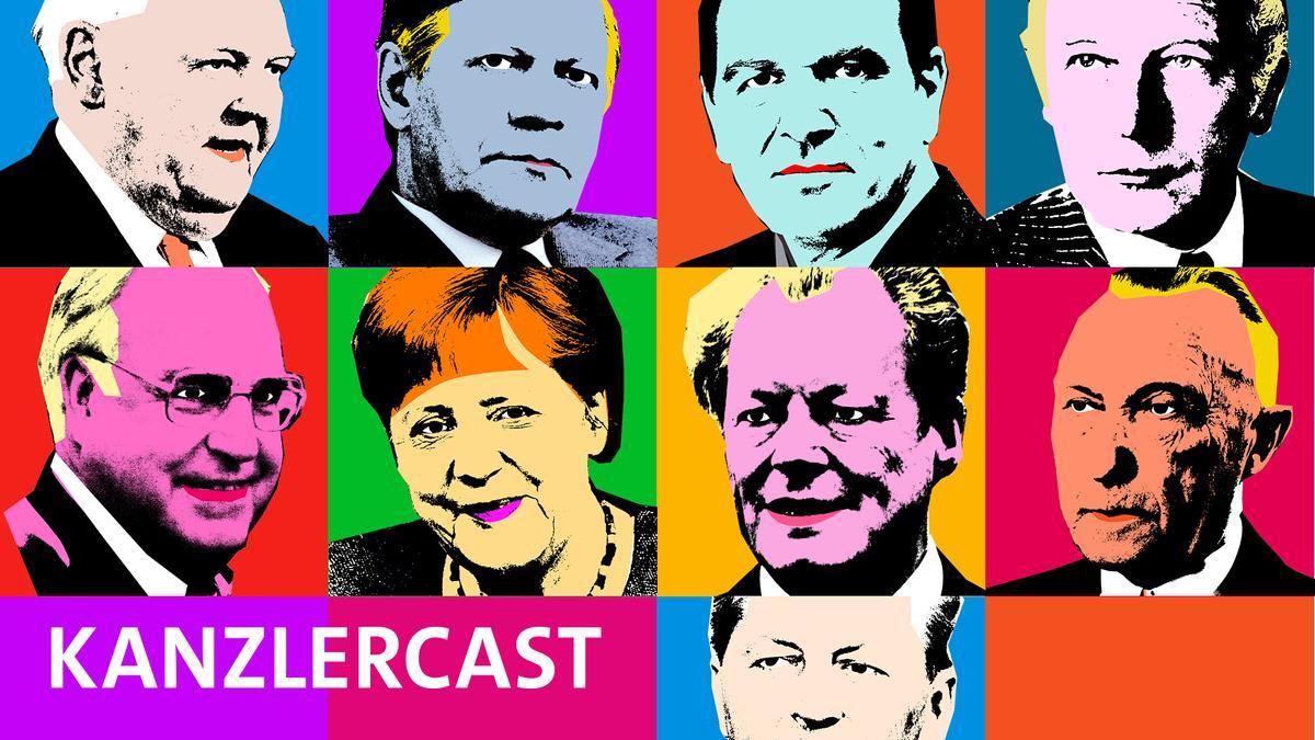 Ludwig Erhard, Helmut Schmidt, Gerhard Schröder, Walter Scheel, Helmut Kohl, Angela Merkel, Willy Brandt, Konrad Adenauer, Kurt-Georg Kiesiger als Grafik