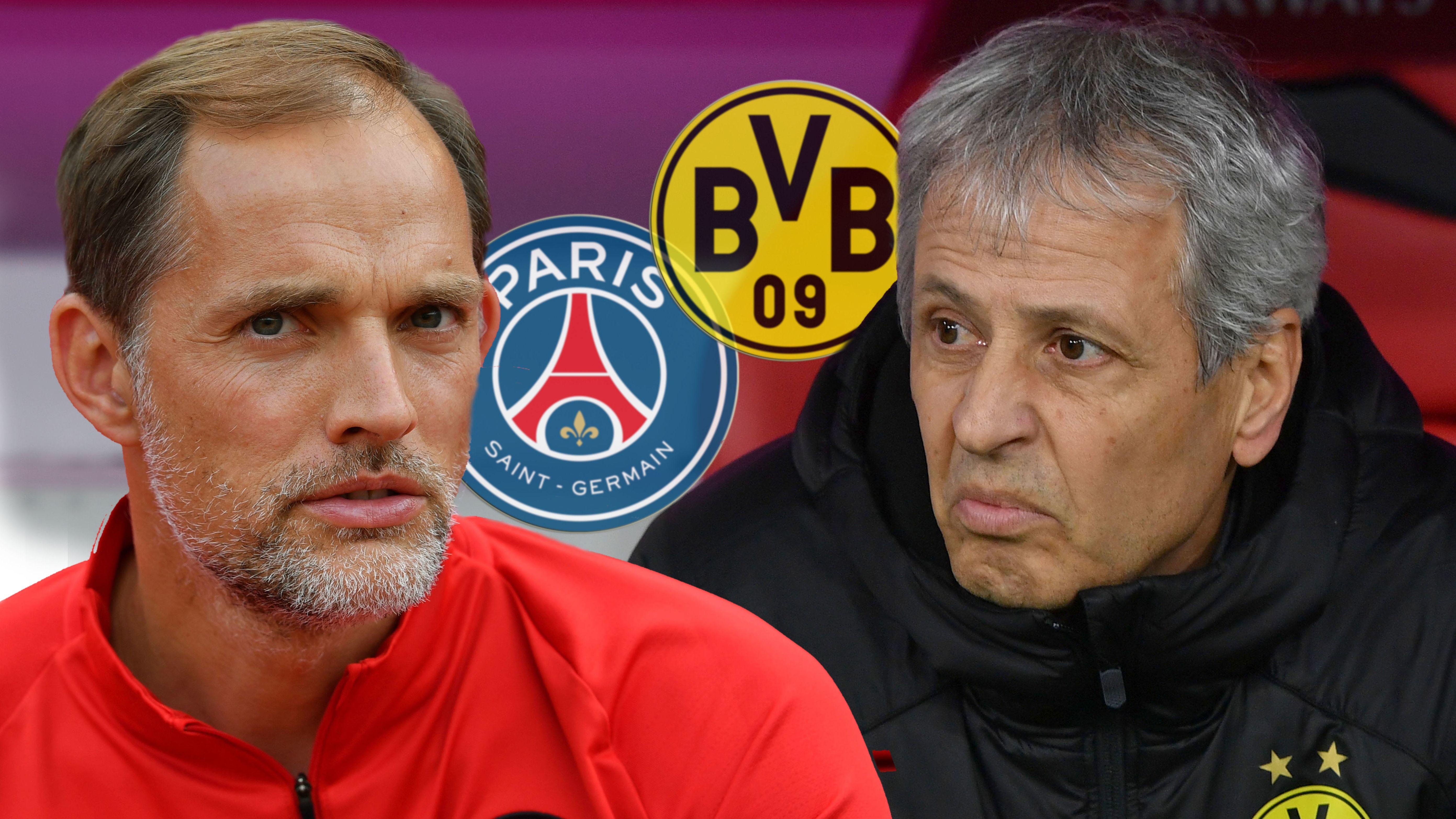 Paris-Trainer Thomas Tuchel und Dortmund-Trainer Lucien Favre