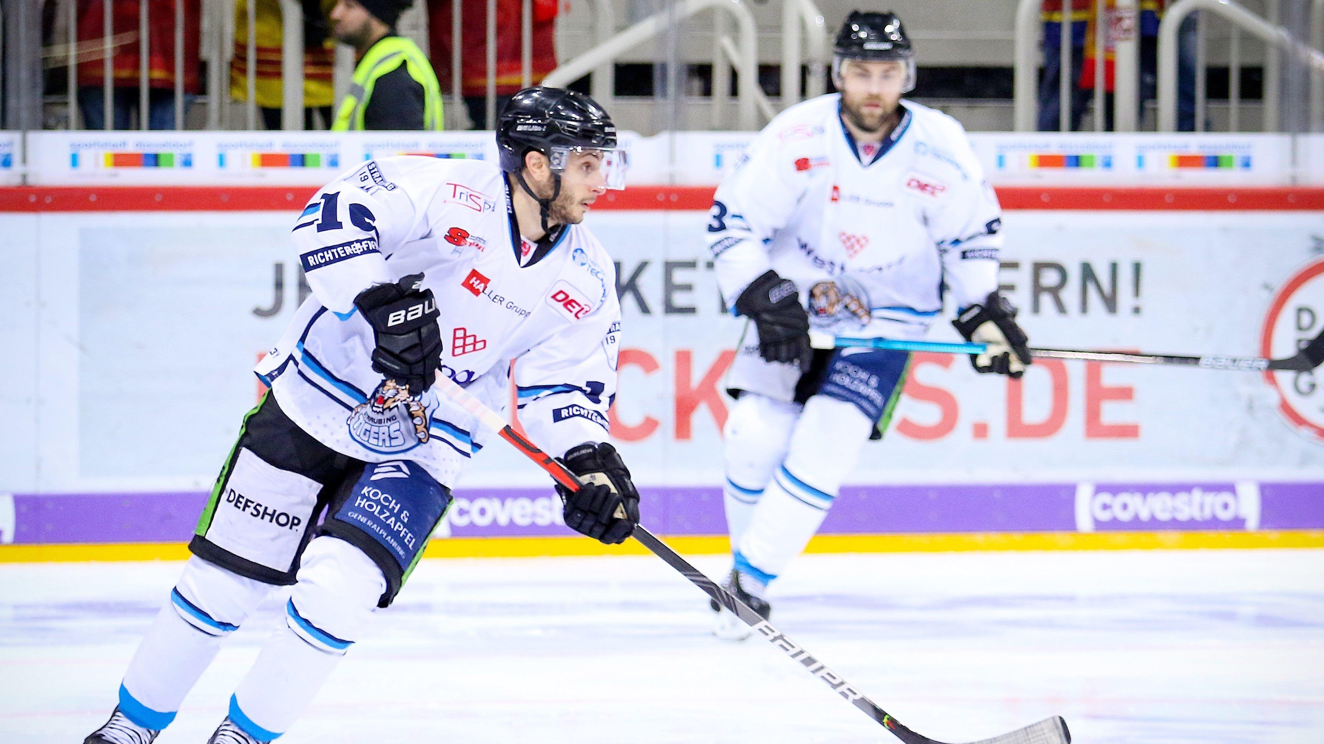 Straubinger Spieler auf dem Eis beim Spiel gegen die Düsseldorfer EG im Januar 2020