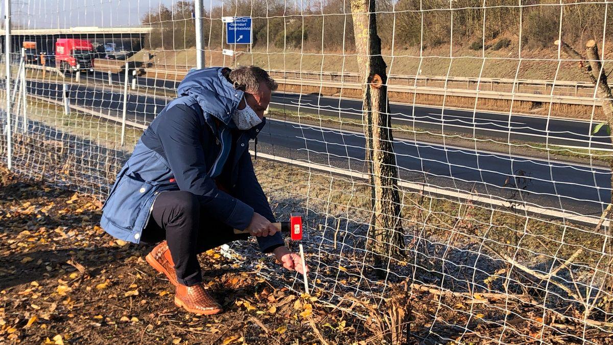 Bayerns Umweltminister Thorsten Glauber schließt die letzte Lücke des Wildschutzzauns an der A70 bei Schweinfurt
