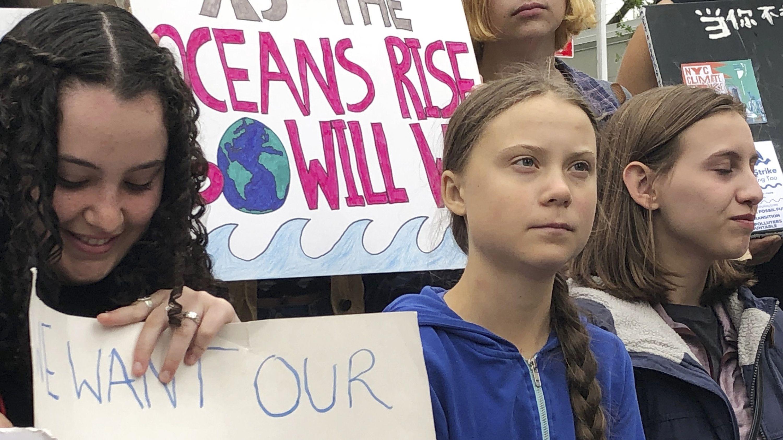 Archivbild: New York, Greta Thunberg bei Demonstration vor den Vereinten Nationen. / Die Aktivistin möchte vor dem Weißen Haus demonstrieren.