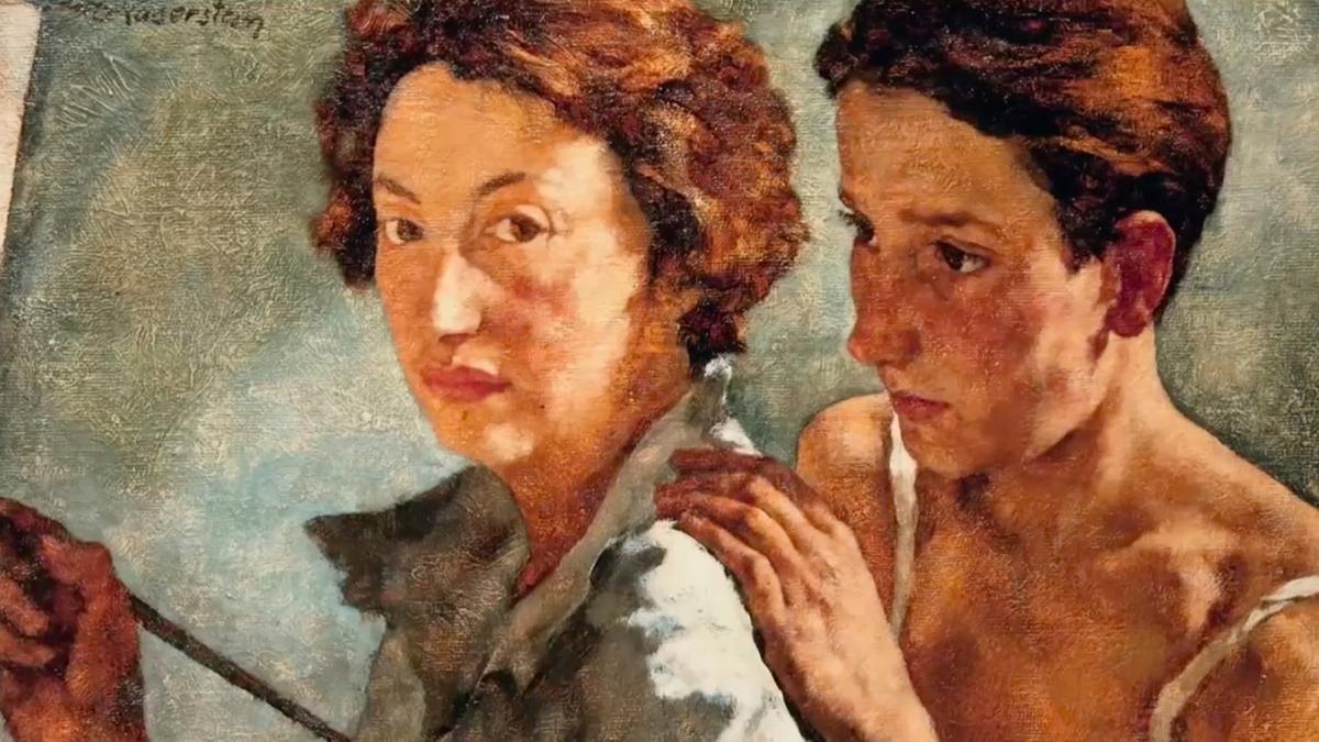 Die Malerin Lotte Laserstein, der ihr Model über die Schulter blickt