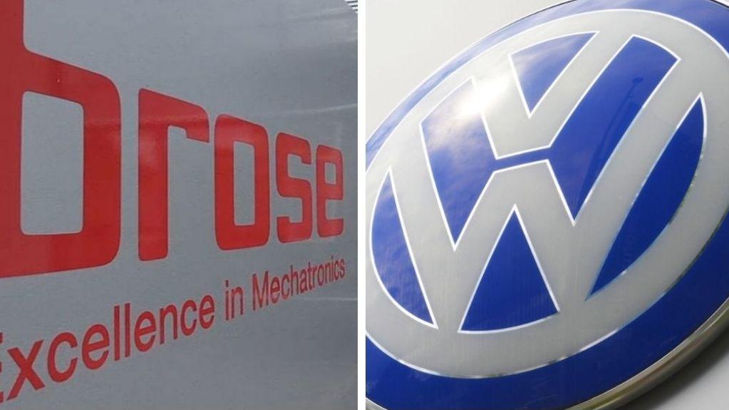 Das Brose-Logo und das VW-Logo nebeneinander
