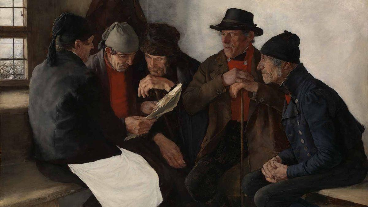 """Auf dem Gemälde """"Die Dorfpolitiker"""" von Wilhelm Leibl sieht man fünf dicht beieinander sitzende ältere Herren in einfacher Kleidung, die gebannt auf ein Stück Papier blicken"""