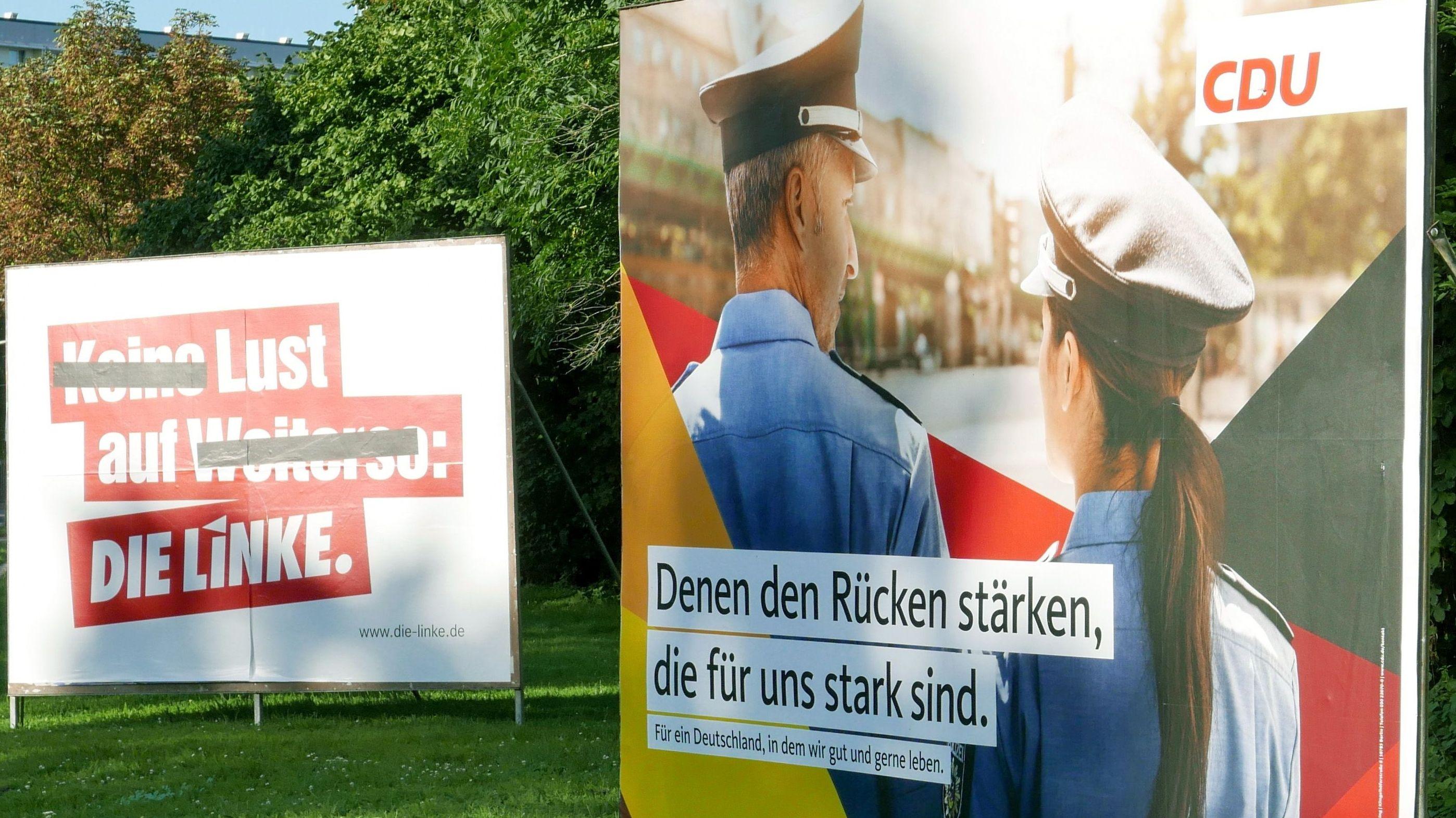 Wahlplakate von CDU und Die Linke