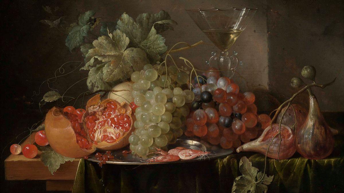 Ein GEmälde mit einem Stillleben mit Früchten und einem gefülltem Weinglas - aus dem  17. Jahrhundert