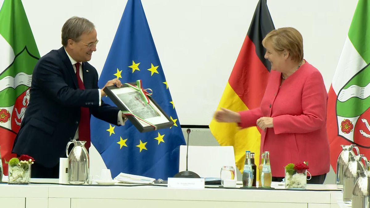 Bundeskanzlerin Merkel Gast bei Nordrhein-Westfalens Ministerpräsident Laschet