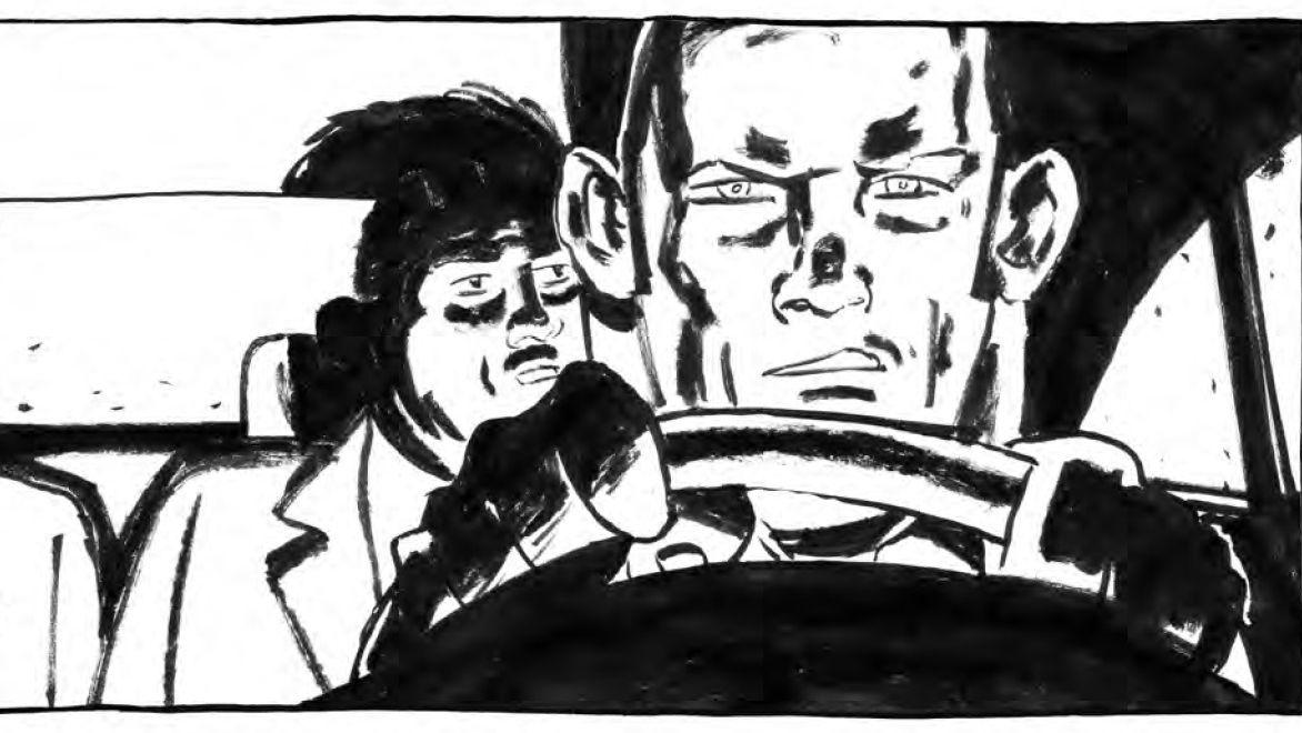"""Ein grimmig dreinschauender Taxifahrer hinterm Steuer (Szene aus der Graphic Novel """"Nachts im Paradies"""" von Frank Schmolke)"""