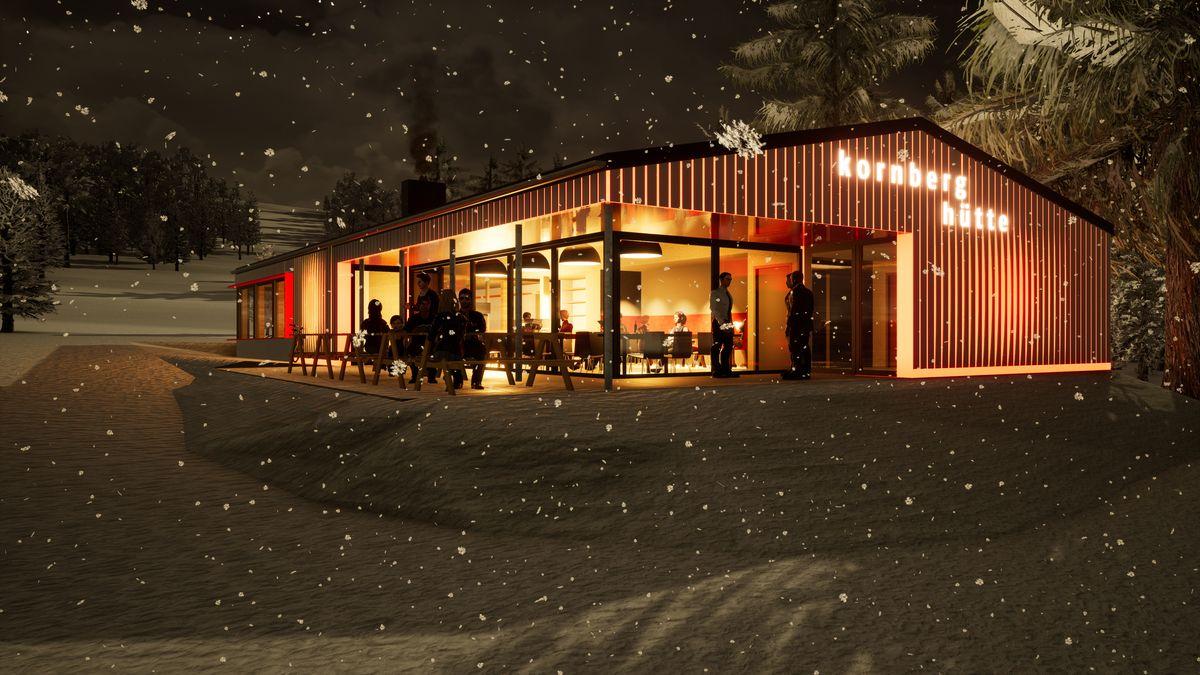 Eine Skizze des geplanten Kornberghauses im Fichtelgebirge
