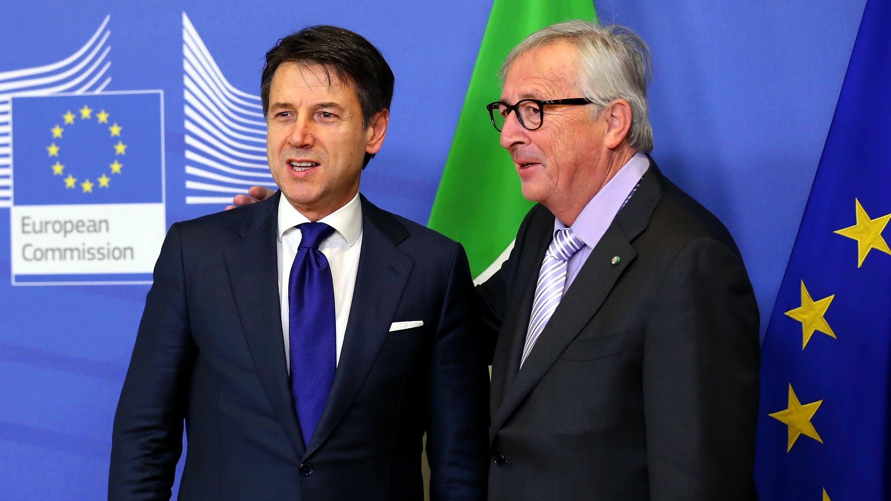 Italiens Regierungschef Conte und EU-Kommissionspräsident Juncker