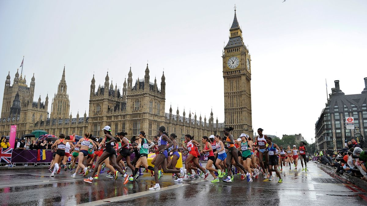 Athleten beim weltberühmten London Marathon
