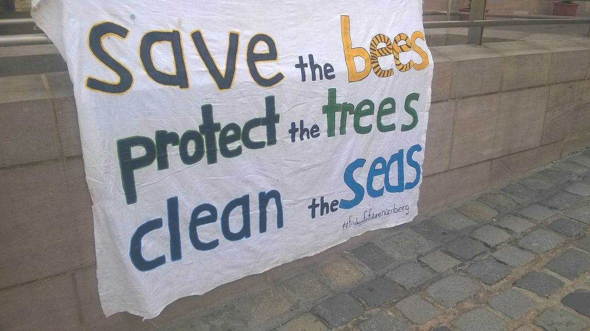 "Transparent von ""Nürnberg for future"" mit der Aufschrift ""save the bees, protect the trees, clean the seas"""