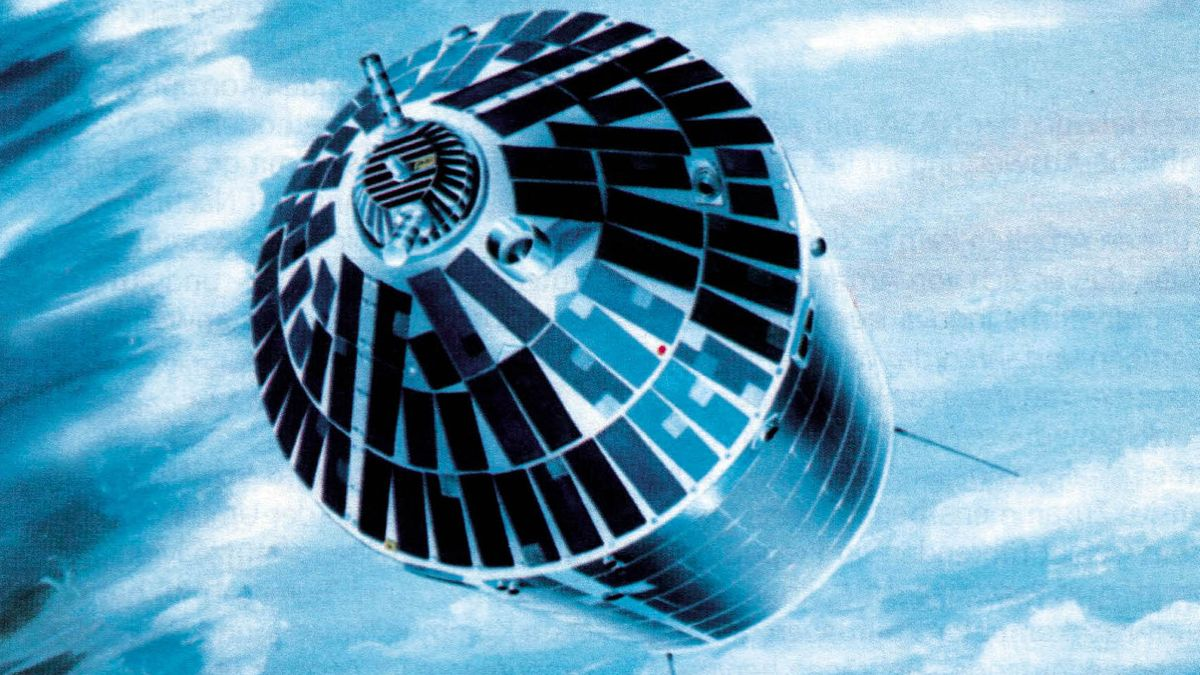Der erste deutsche Forschungssatellit Azur (künstlerische Darstellung)