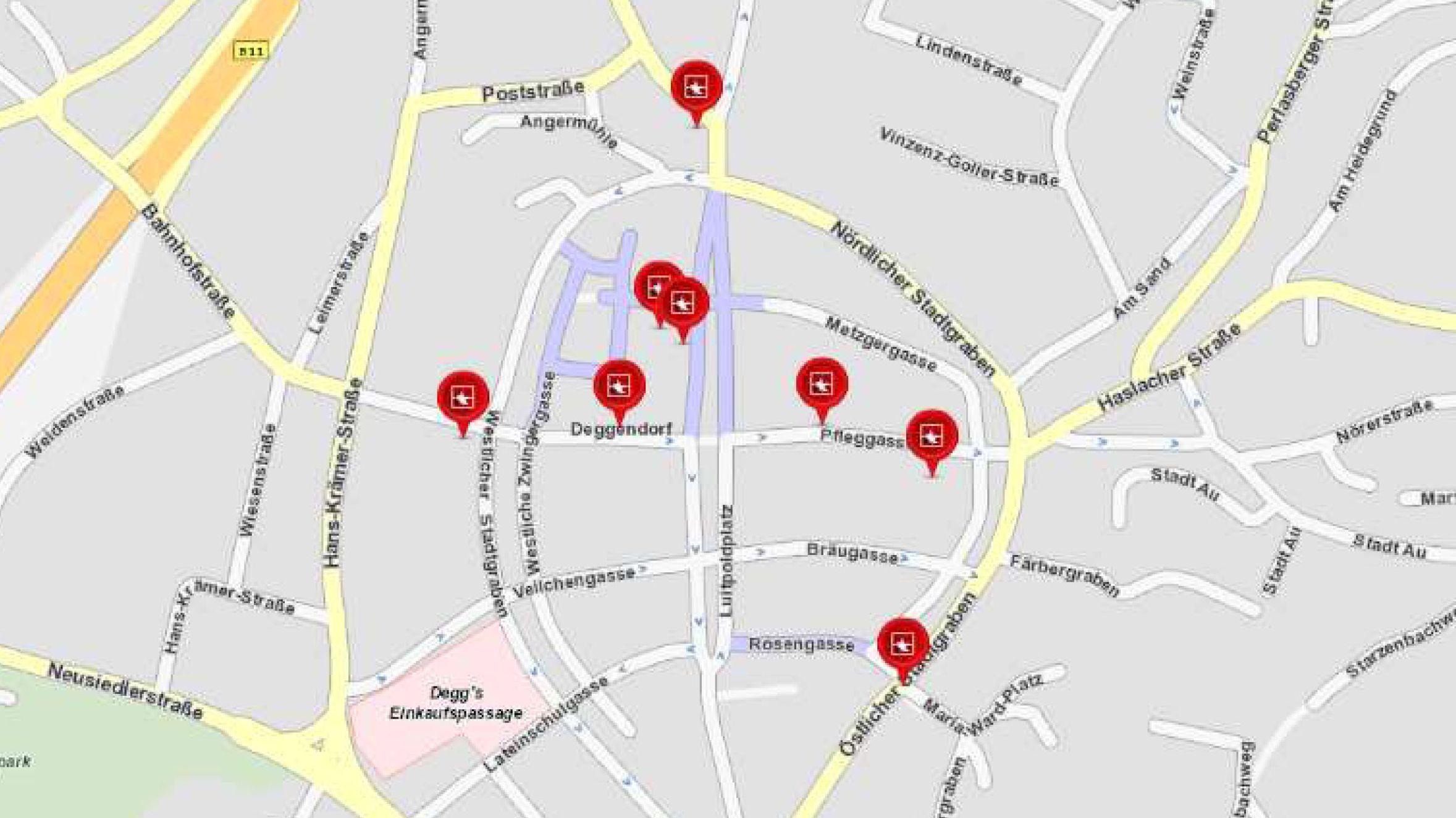 Karte mit den Tatorten in der Deggendorfer Innenstadt