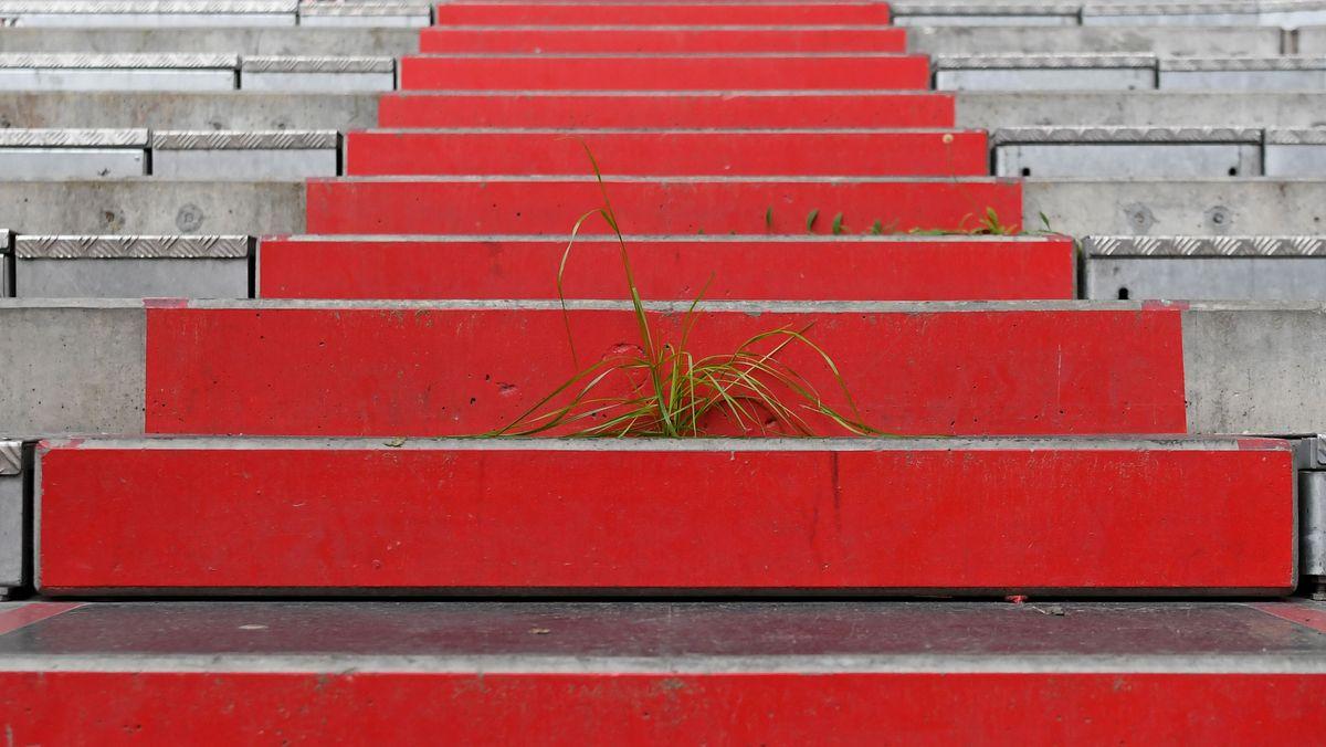 Rote Stufen - der Blick geht nach oben.