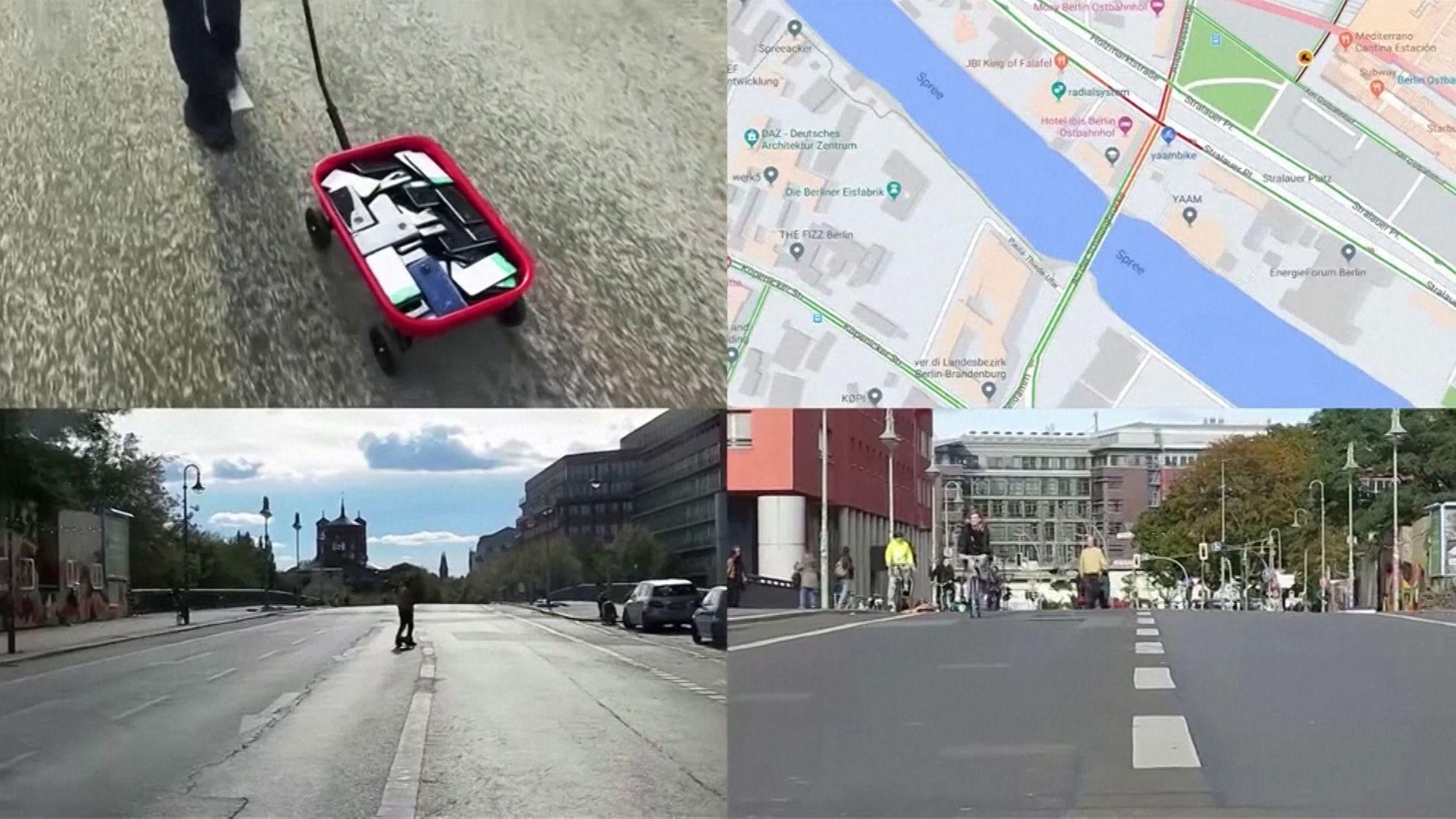 Mit einem Bollerwagen voll Handys hat der Berliner Künstler Simon Weckert Google Maps ausgestrickst.