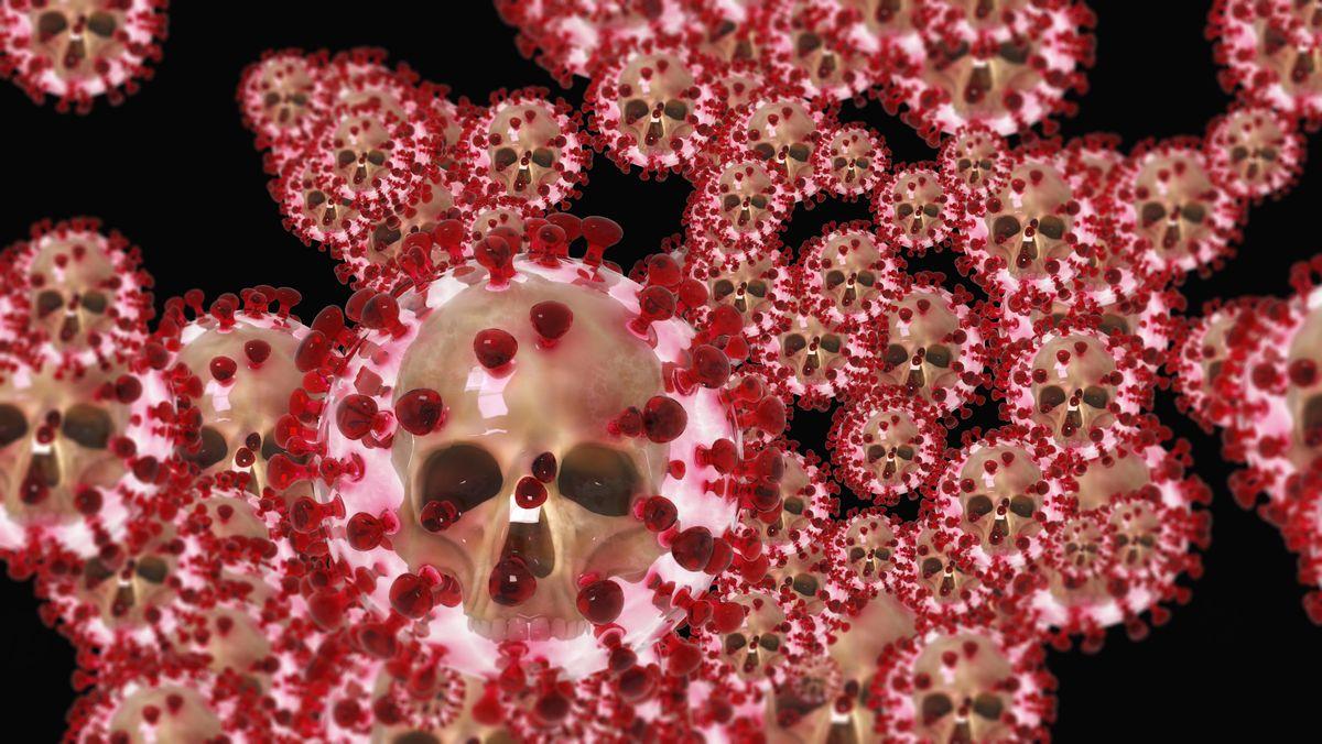 Coronaviren in künstlerischer Darstellung.