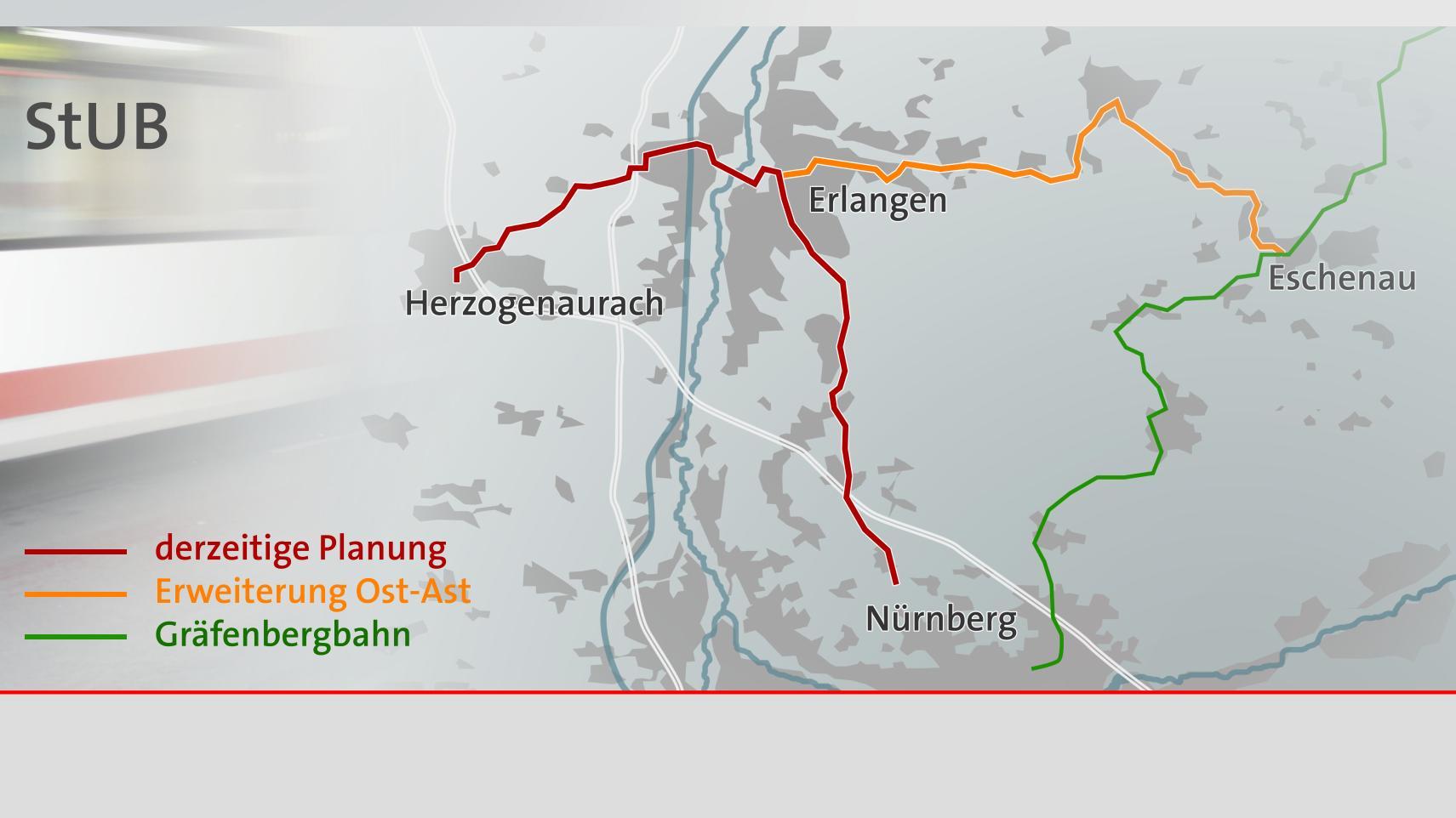 Linienführung der Stadt-Umland-Bahn