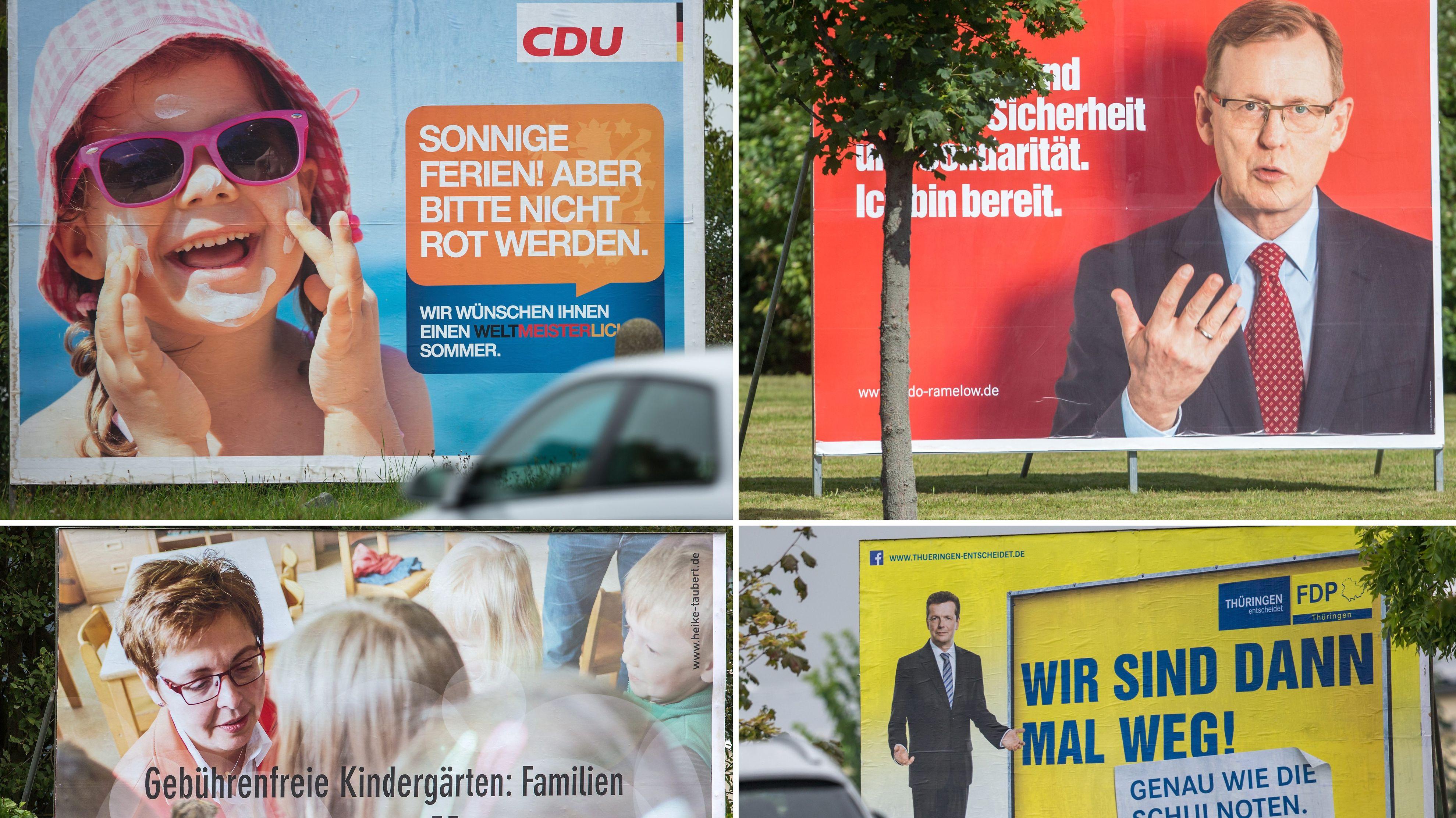 Wahlplakate der CDU, der Linken, der SPD und der FDP in Thüringen.