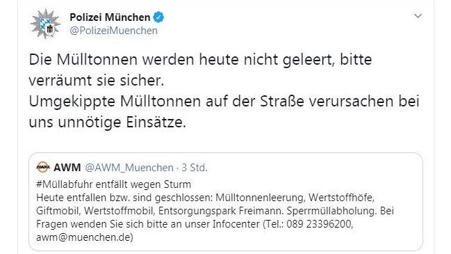 Screenshot: Tweet der Polizei München