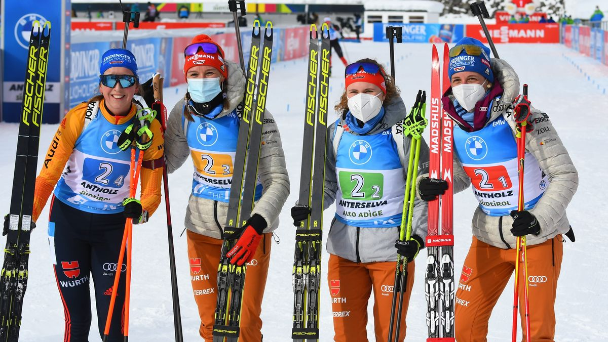 Die deutsche Biathlon-Damenstaffel in Antholz