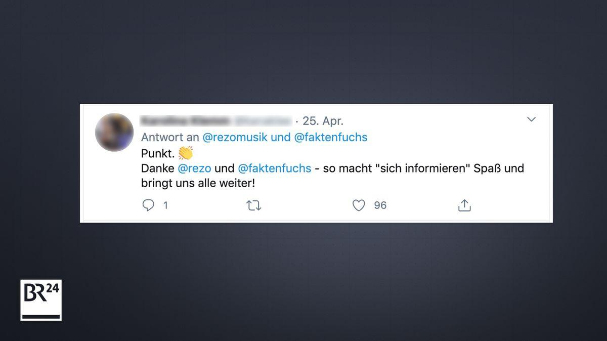Eine Userin kommentiert auf Twitter die Debatte zwischen Rezo und #Faktenfuchs
