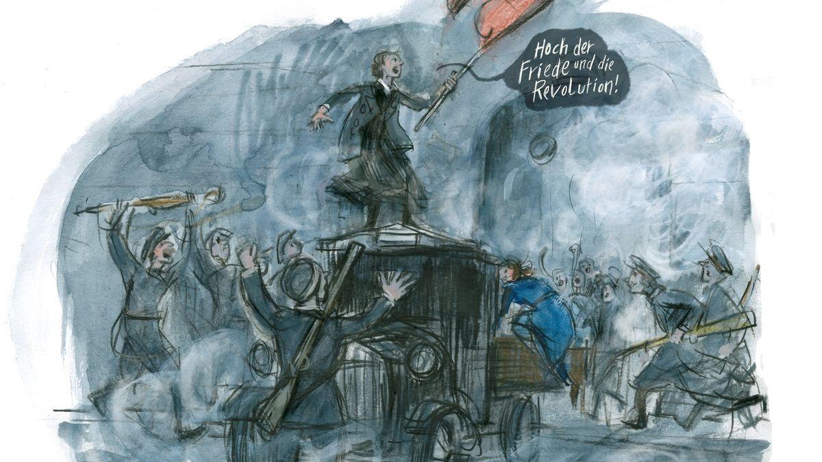 Szene eines Aufruhrs: Illustration von Barbara Yelin zur Geschichte der Münchner Räte-Revolution. Das Bild zeigt Zenzl Mühsam, die Frau Erich Mühsams, auf einem Lastwagen, umgeben von feiernden Soldaten.