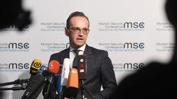 Heiko Maas am ersten Tag der 55. Münchner Sicherheitskonferenz | Bild:dpa-Bildfunk / Tobias Hase