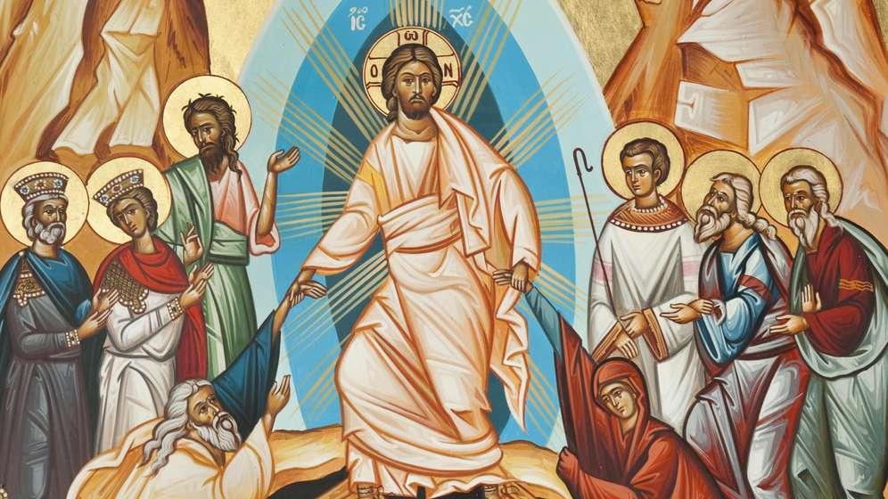 Auferstehung Christi, Christus erweckt die Toten aus den Gräbern zum Leben, griechisch-orthodoxe Ikone | Bild:picture alliance/imageBROKER