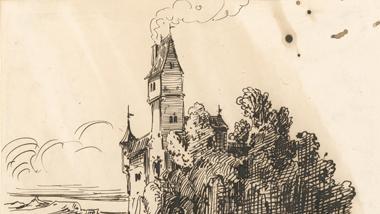 Franz von Pocci konnte in nur 14 Minuten eine Phantasie-Burg zeichnen