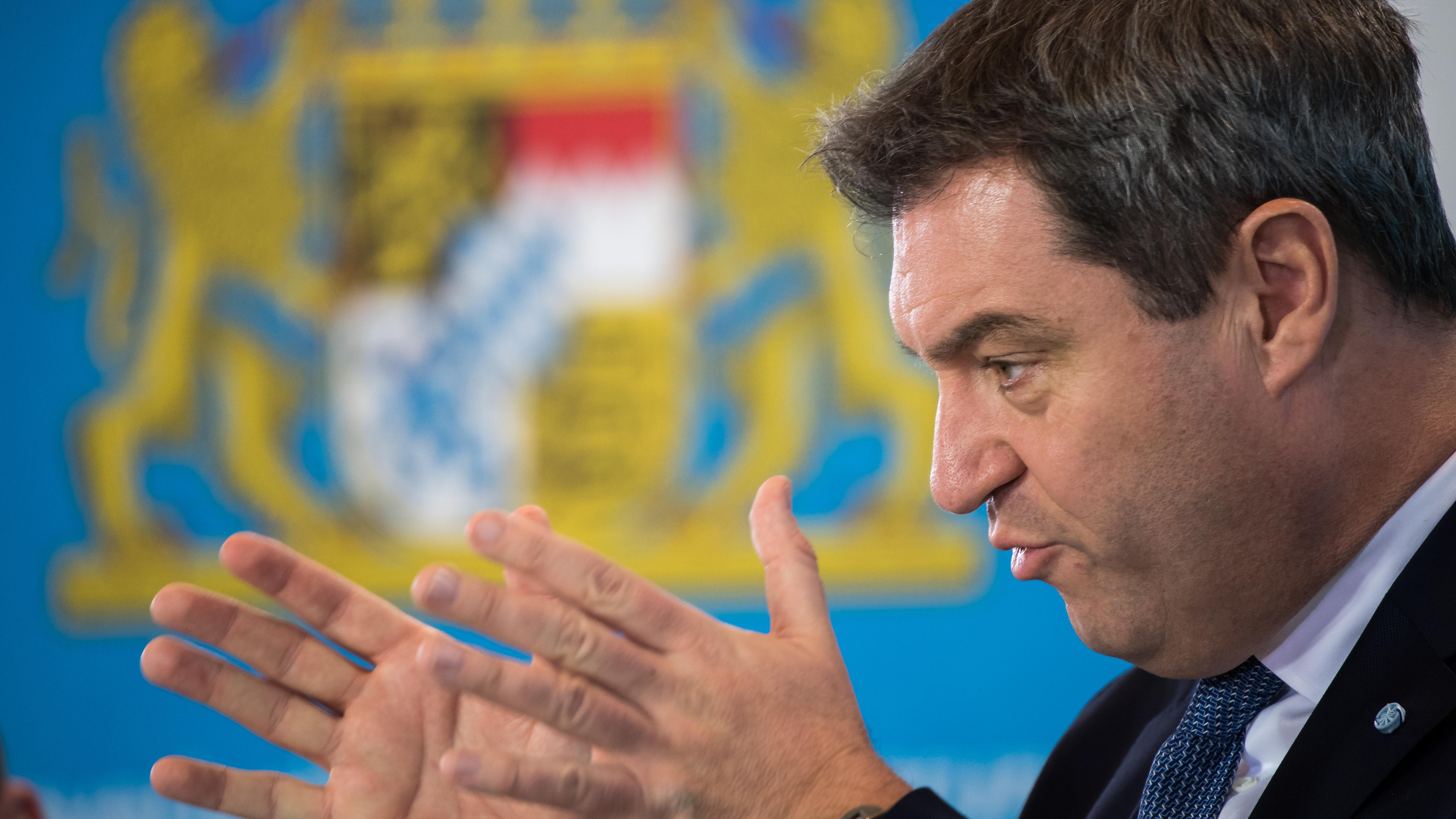 Ministerpräsident Markus Söder auf einer Pressekonferenz in der Staatskanzlei am 12.2.2019