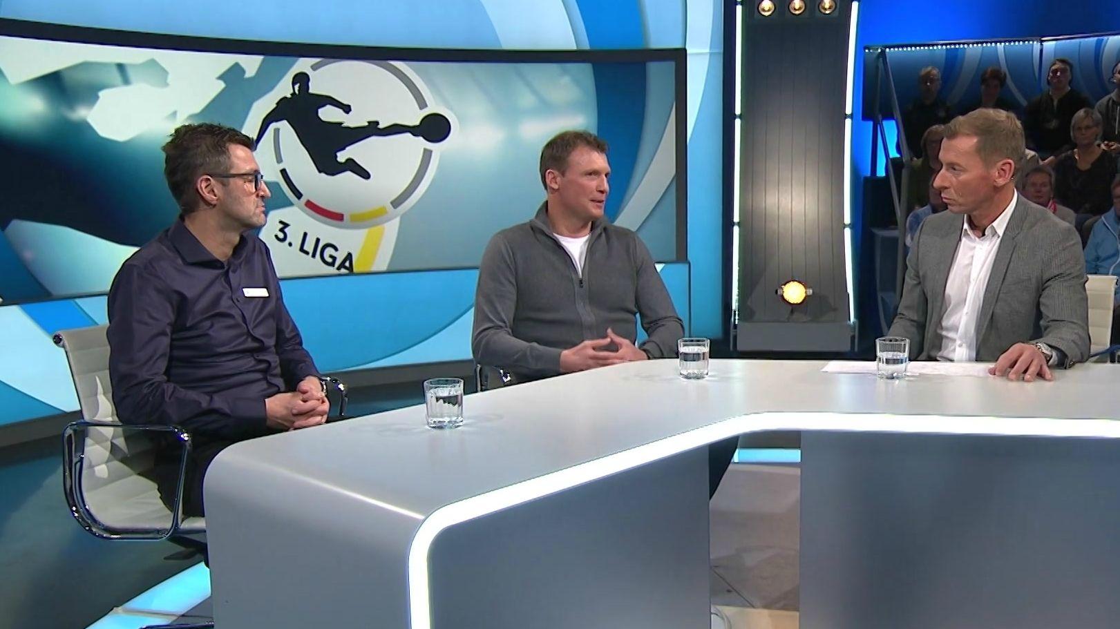 Löwen-Trainer Michael Köllner und Unterhaching-Coach Claus Schromm in Blickpunkt Sport