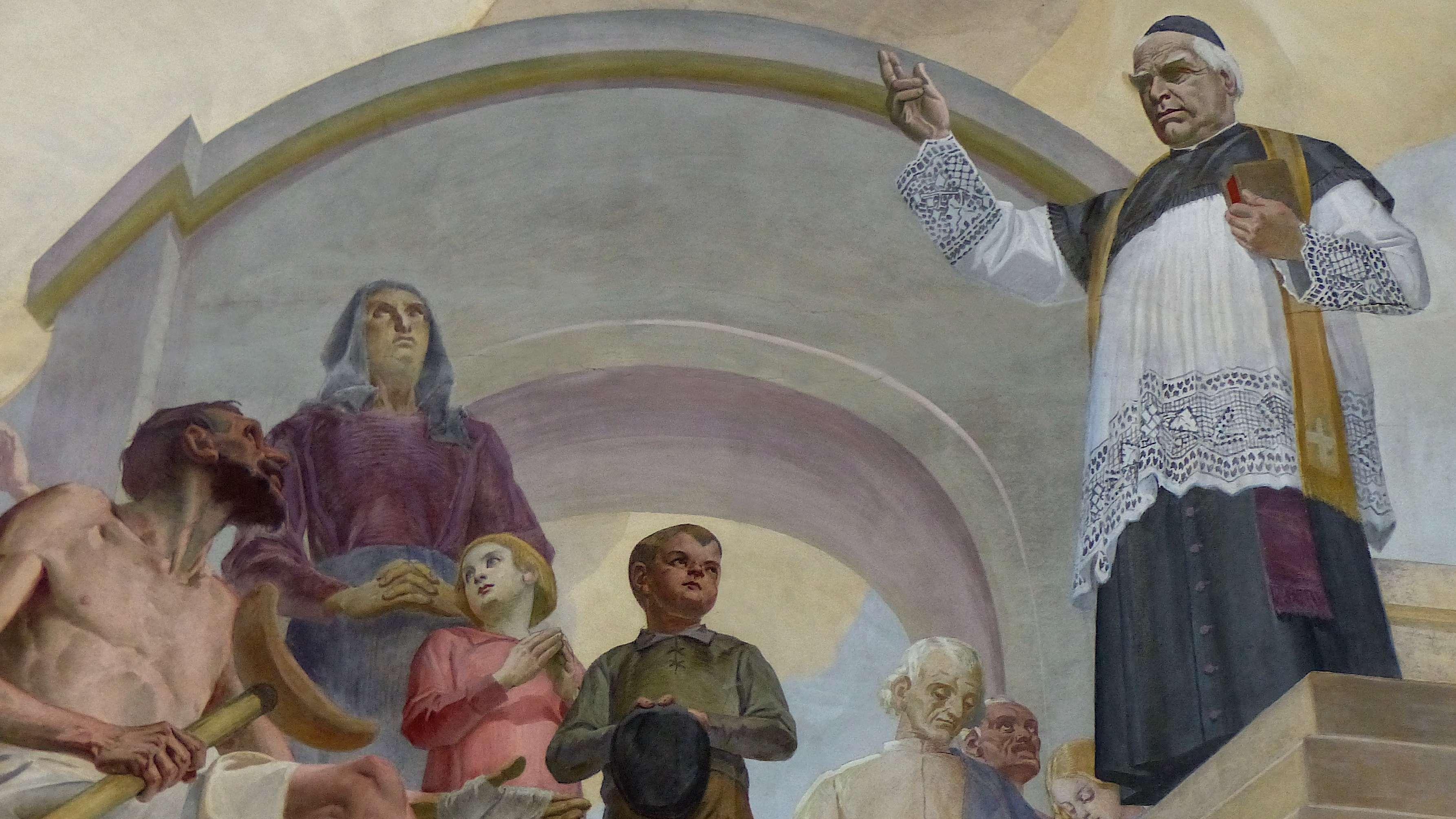 Pfarrer Kneipp und seine Hydrotherapie, Deckenfresko in St. Justina, Wörishofen.