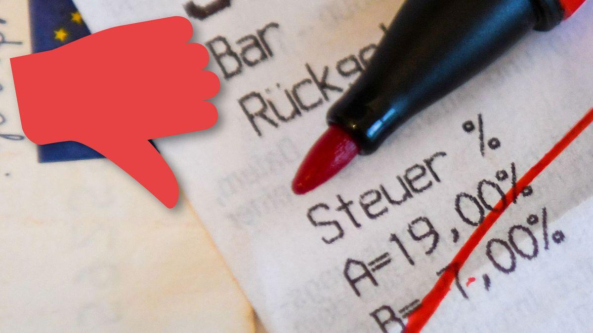 Symbolbild: Kassenzettel mit durchgestrichener Mehrwertsteuer