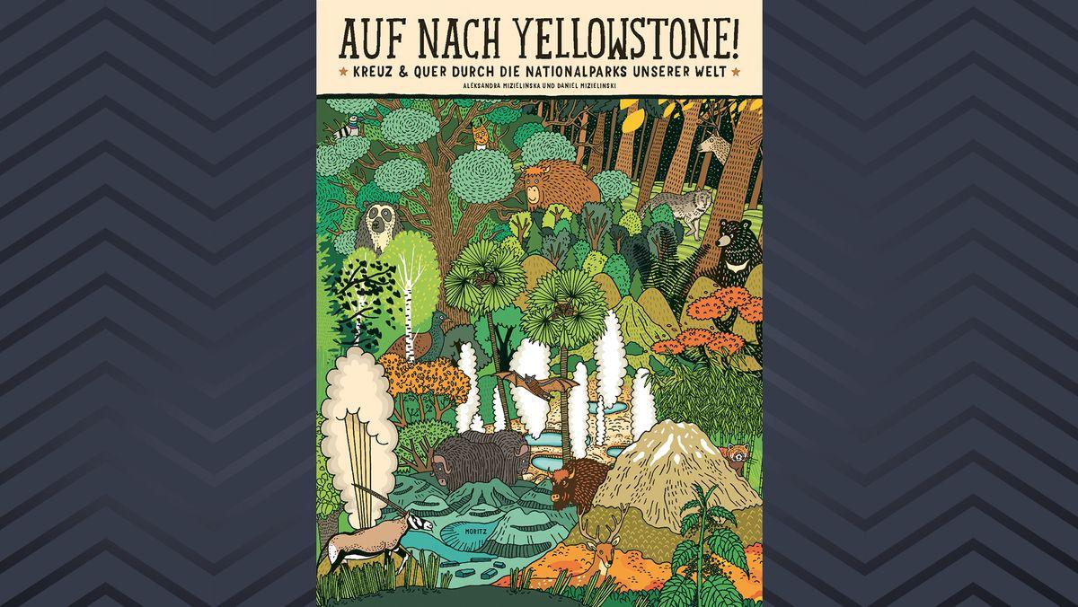Farbenprächtiges Buchcover mit vielen Tieren und Pflanzen
