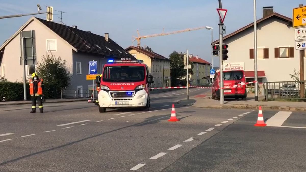 Absperrungen im Vorfeld der Fliegerbomben-Entschärfung in Traunstein