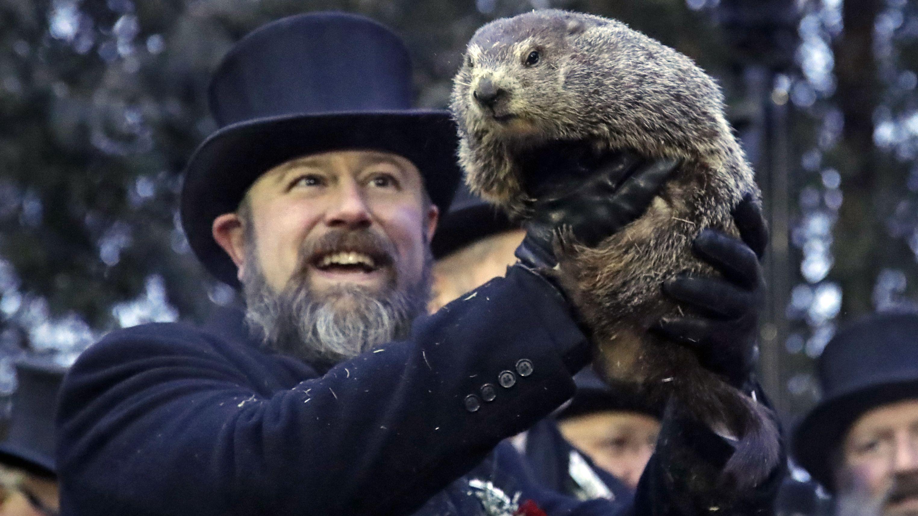 Ein Mitglied des Murmeltierclubs in Pennsylvania hält ein Murmeltier hoch.